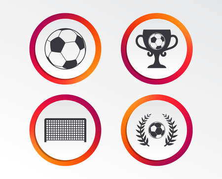 Football icons. Soccer ball sport sign. Goalkeeper gate symbol. Winner award cup and laurel wreath. Infographic design buttons. Circle templates. Vector
