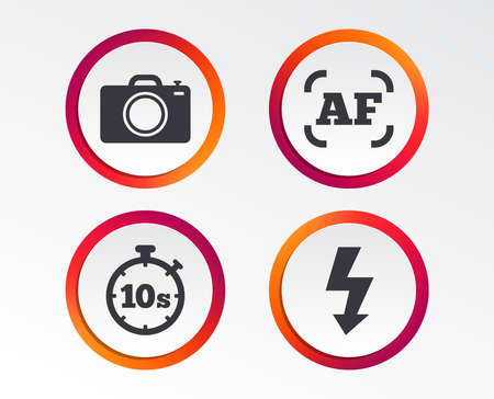 Photo camera icon. Flash light and autofocus AF symbols. Stopwatch timer 10 seconds sign. Infographic design buttons. Circle templates. Vector