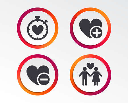 Valentine day love icons. Love heart timer symbol. Couple lovers sign. Add new love relationship. Infographic design buttons. Circle templates. Vector