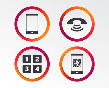 Phone icons. Smartphone with Qr code sign. Call center support symbol. Cellphone keyboard symbol. Infographic design buttons. Circle templates. Vector