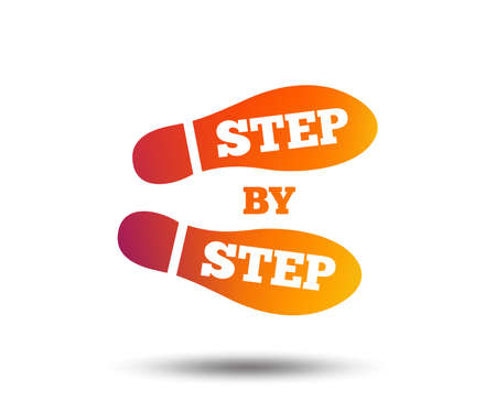 Step by step sign icon. Footprint shoes symbol. Blurred gradient design element. Vivid graphic flat icon. Vector