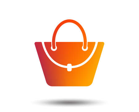 Woman bag icon. Female handbag sign. Glamour casual baggage symbol. Blurred gradient design element. Vivid graphic flat icon. Vector Illustration