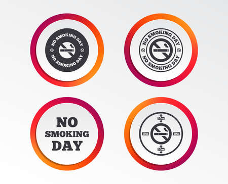 No smoking day icons. Against cigarettes signs. Quit or stop smoking symbols. Infographic design buttons. Circle templates. Vector