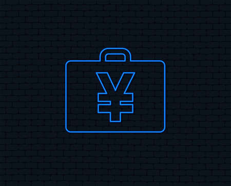 Neon light. Case with Yen JPY sign icon. Briefcase button. Glowing graphic design. Brick wall. Vector