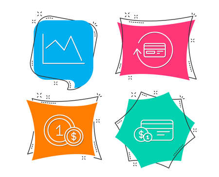 Set of Refund commission, Line chart and Usd coins icons. Payment method sign. Cashback card, Financial graph, Cash payment.  Flat geometric colored tags. Vivid banners. Trendy graphic design. Vector