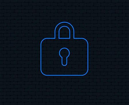 Neon light. Lock sign icon. Locker symbol. Glowing graphic design. Brick wall. Vector