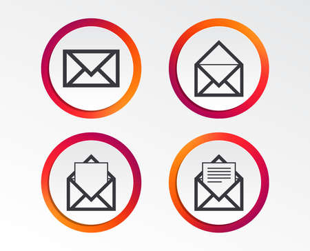 Mail envelope icons. Message document symbols. Post office letter signs. Infographic design buttons. Circle templates. Vector Иллюстрация