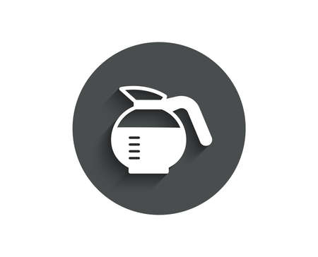 Coffeepot simple icon. Coffee Hot drink sign. Brewed fresh beverage symbol. Circle flat button with shadow. Vector