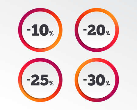Sale discount icons. Special offer price signs. 10, 20, 25 and 30 percent off reduction symbols. Infographic design buttons. Circle templates. Vector Reklamní fotografie - 102436518