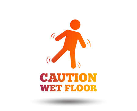 Caution wet floor sign icon. Human falling symbol. Blurred gradient design element. Vivid graphic flat icon. Vector
