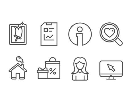 Set of Search love, Window cleaning and Report document icons. Shopping, Woman and Internet signs. Dating service, Housekeeping service, Statistics file. Vector Çizim
