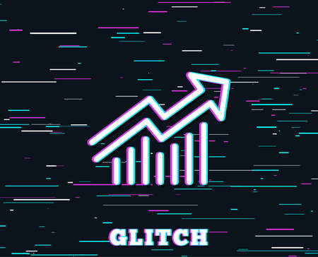 Glitch effect. Chart line icon. Report graph or Sales growth sign. Analysis and Statistics data symbol. Background with colored lines. Vector Illusztráció