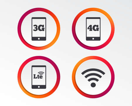 Mobile telecommunications icons. 3G, 4G and LTE technology symbols. Wi-fi Wireless and Long-Term evolution signs. Infographic design buttons. Circle templates. Vector Ilustração