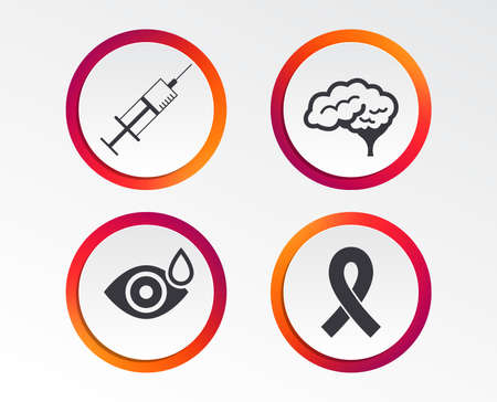 Medicine icons. Syringe, eye with drop, brain and ribbon signs. Breast cancer awareness symbol. Human smart mind. Infographic design buttons. Circle templates. Vector