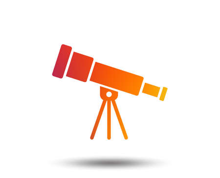 Telescope icon. Spyglass tool symbol. Blurred gradient design element. Vivid graphic flat icon. Vector