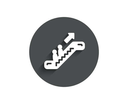 Escalator simple icon. Elevator sign. Shopping stairway symbol. Circle flat button with shadow. Vector