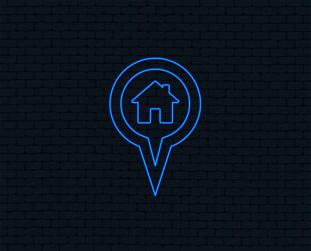 Neon light. Map pointer house sign icon. Home location marker symbol. Glowing graphic design. Brick wall. Vector
