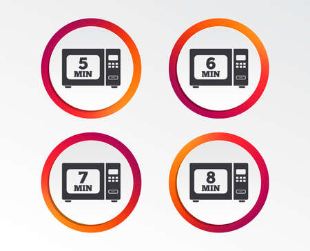 Microwave oven icons. Cook in electric stove symbols. Heat 5, 6, 7 and 8 minutes signs. Infographic design buttons. Circle templates. Vector