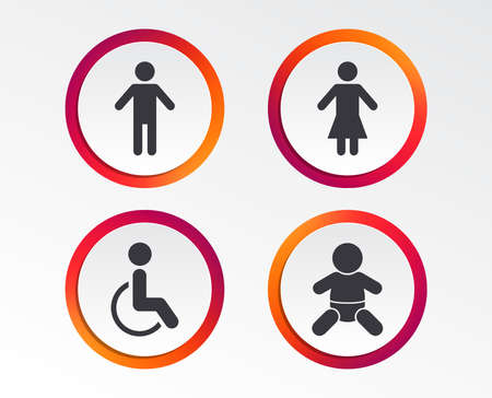 WC toilet icons. Human male or female signs. Baby infant or toddler. Disabled handicapped invalid symbol. Infographic design buttons. Circle templates. Vector Illustration