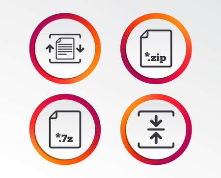 Archive file icons. Compressed zipped document signs. Data compression symbols. Infographic design buttons. Circle templates. Vector 写真素材 - 102436572