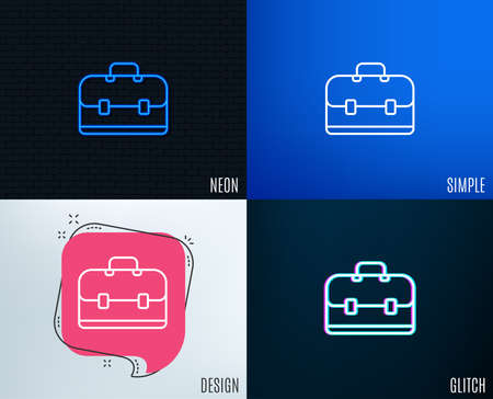 Glitch, Neon effect. Business case line icon. Portfolio symbol. Diplomat sign. Trendy flat geometric designs. Vector