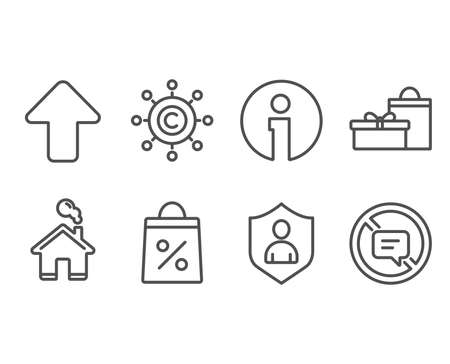 Set of Security, Copywriting network and Shopping bag icons. Gifts, Upload and Stop talking signs. Private protection, Content networking, Supermarket discounts. Vector Banque d'images - 102436577