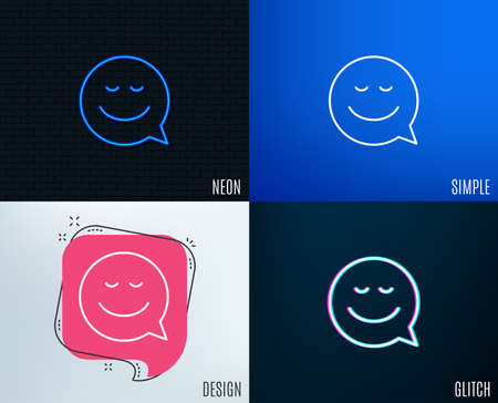 Glitch, Neon effect. Comic speech bubble with Smile line icon. Chat emotion sign. Trendy flat geometric designs. Vector Illustration