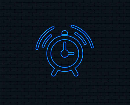 Neon light. Alarm clock sign icon. Wake up alarm symbol. Glowing graphic design. Brick wall. Vector