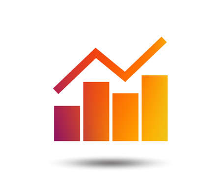 Graph chart sign icon. Diagram symbol. Statistics. Blurred gradient design element. Vivid graphic flat icon. Vector Ilustração