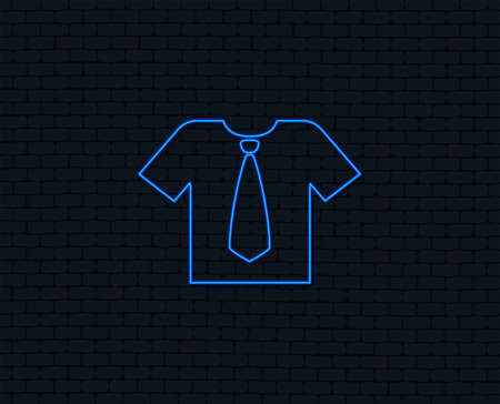 Neon light. Shirt with tie sign icon. Clothes with short sleeves symbol. Glowing graphic design. Brick wall. Vector
