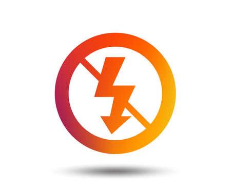 No Photo flash sign icon. Lightning symbol. Blurred gradient design element. Vivid graphic flat icon. Vector Illustration