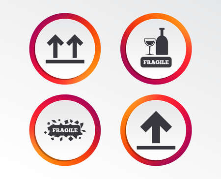 Fragile icons. Delicate package delivery signs. This side up arrows symbol. Infographic design buttons. Circle templates. Vector Illustration