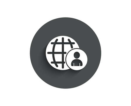 International business recruitment simple icon. Global human resources sign. Circle flat button with shadow. Vector