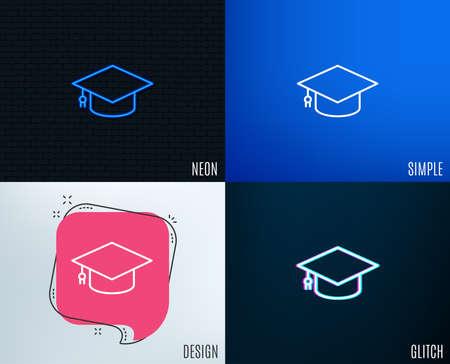 Glitch, Neon effect. Graduation cap line icon. Education sign. Student hat symbol. Trendy flat geometric designs. Vector