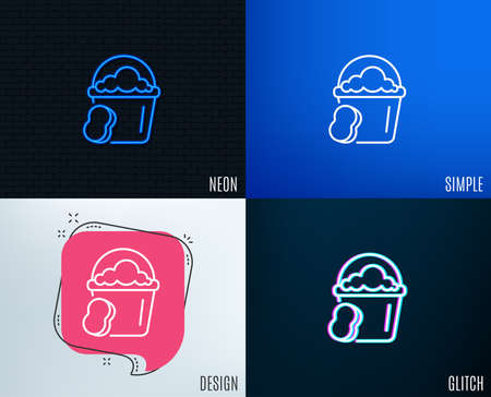Glitch, Neon effect. Cleaning bucket with sponge line icon. Washing Housekeeping equipment sign. Trendy flat geometric designs. Vector