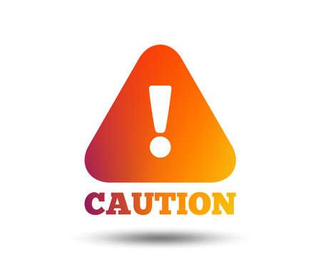 Attention caution sign icon. Exclamation mark. Hazard warning symbol. Blurred gradient design element. Vivid graphic flat icon. Vector Foto de archivo - 102436627