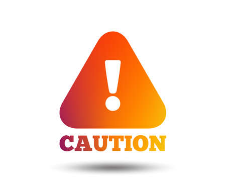 Attention caution sign icon. Exclamation mark. Hazard warning symbol. Blurred gradient design element. Vivid graphic flat icon. Vector