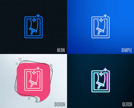 Glitch, Neon effect. Window cleaning line icon. Washing service symbol. Housekeeping equipment sign. Trendy flat geometric designs. Vector