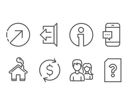 Set of Direction, Smartphone message and Couple icons. Dollar exchange, Sign out and Unknown file signs. Navigation pointer, Cellphone chat, Male and female. Vector Çizim
