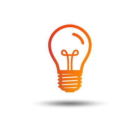 Light bulb icon. Lamp E27 screw socket symbol. Illumination sign. Blurred gradient design element. Vivid graphic flat icon. Vector