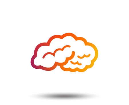 Brain sign icon. Human intelligent smart mind. Blurred gradient design element. Vivid graphic flat icon. Vector Illustration