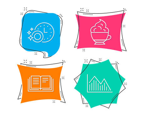 Set of Dishwasher timer, Education and Cappuccino cream icons. Investment graph sign. Cleaning dishes, Instruction book, Coffee with whipped cream. Investment infochart.  Flat geometric colored tags