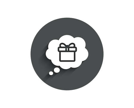 Dreaming of Gift simple icon. Present box in Comic speech bubble sign. Birthday Shopping symbol. Package in Gift Wrap. Circle flat button with shadow. Vector