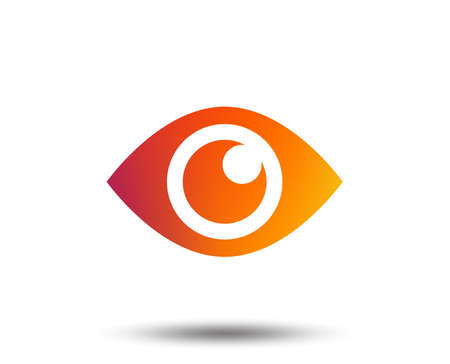 Eye sign icon. Publish content button. Visibility. Blurred gradient design element. Vivid graphic flat icon. Vector Illustration