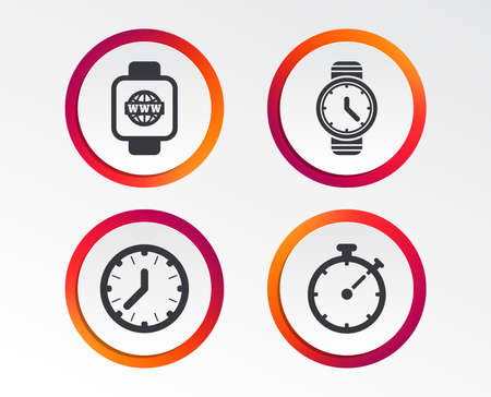 Smart watch with internet icons. Mechanical clock time, Stopwatch timer symbols. Wrist digital watch sign. Infographic design buttons. Circle templates. Vector