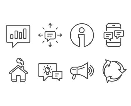 Set of Idea lamp, Sms and Megaphone icons. Analytical chat, Phone messages and Recycle signs. Business energy, Conversation, Advertisement. Communication speech bubble, Mobile chat, Recycling waste