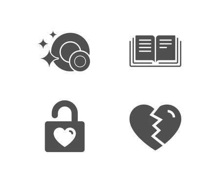 Set of Wedding locker, Education and Clean dishes icons. Break up sign. Valentines day, Instruction book, Dishwasher concept. Divorce.  Quality design elements. Classic style. Vector