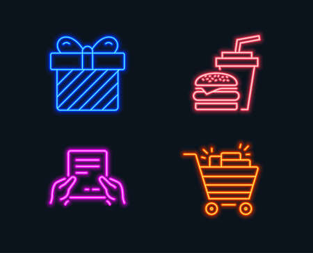Neon lights. Set of Surprise, Hamburger and Receive file icons. Shopping cart sign. Present with bow, Burger with drink, Hold document. Gifts.  Glowing graphic designs. Vector