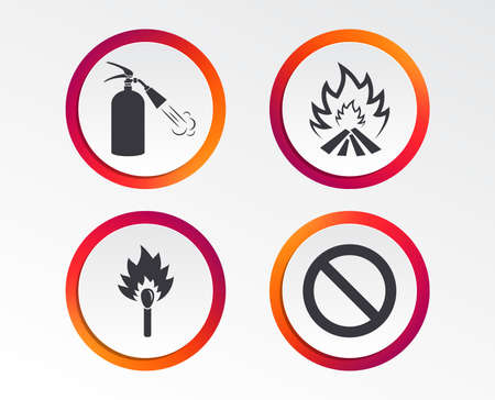 Fire flame icons. Fire extinguisher sign. Prohibition stop symbol. Burning matchstick. Infographic design buttons. Circle templates. Vector