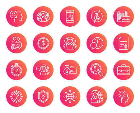 Business line icons. Group, Profile and Teamwork signs. Portfolio, Timer and Security shield symbols. Analytics and Human Management. Trendy gradient circle buttons. Quality design elements. Vector
